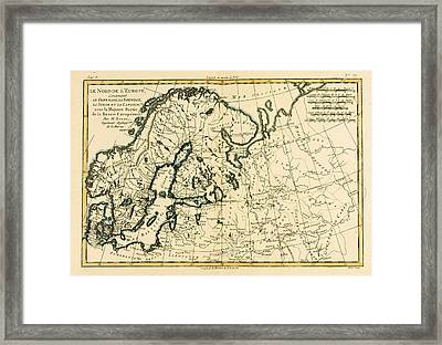 Old Map Of Northern Europe Framed Print