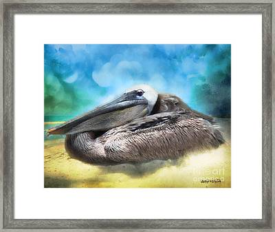 Framed Print featuring the digital art Old Mr. Pelican by Rhonda Strickland