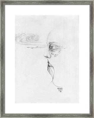 Old Nature Face Black And White Art Looking Into Cloud  L Leaf Beard Fantasy Flower Tear Surreal Framed Print by Rachel Hershkovitz