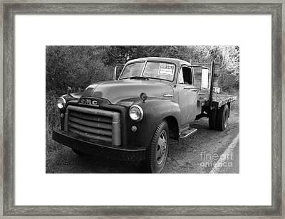 Old Nostalgic American Gmc Flatbed Truck . 7d9821 . Black And White Framed Print by Wingsdomain Art and Photography