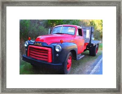 Old Nostalgic American Gmc Flatbed Truck . 7d9821 . Photo Art Framed Print by Wingsdomain Art and Photography