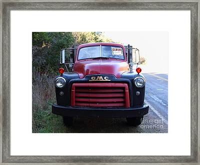 Old Nostalgic American Gmc Flatbed Truck . 7d9823 Framed Print by Wingsdomain Art and Photography