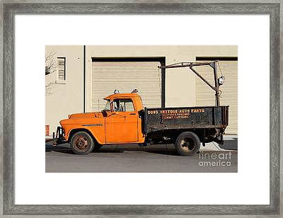 Old Orange American Chevy Chevrolet 3600 Truck . 7d12735 Framed Print by Wingsdomain Art and Photography