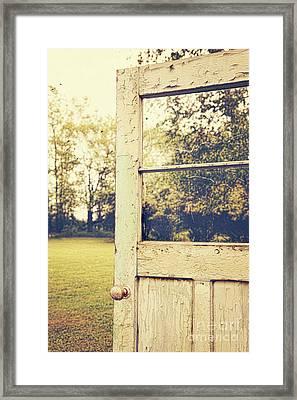 Old Peeling Door With Landscape Framed Print by Sandra Cunningham