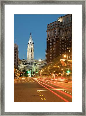 Old Philadelphia City Hall At Night Framed Print by Travelif