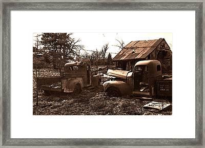 'old Pickup Trucks' Framed Print by Michael Lang