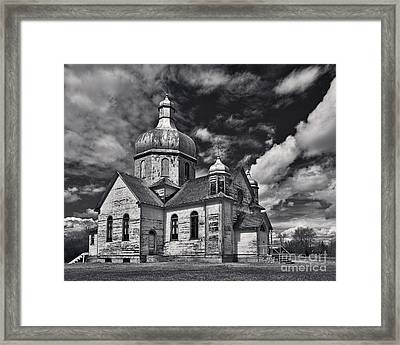 Old Prairie Church And Storm Front Framed Print by Royce Howland