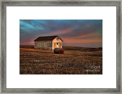 Old Prairie School At Sunrise Framed Print by Edward R Wisell