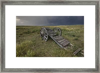 Old Prairie Wheel Cart Saskatchewan Framed Print