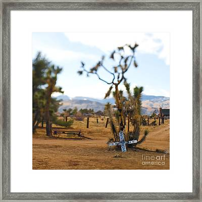 Old Railroad Crossing Sign In Desert Framed Print by Eddy Joaquim