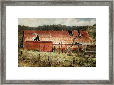 Framed Print featuring the photograph Old Red Barn by Joan Bertucci