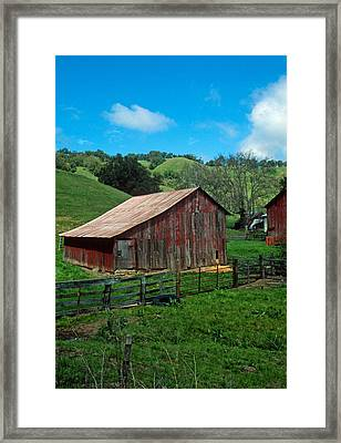 Old Red Barn Framed Print by Kathy Yates