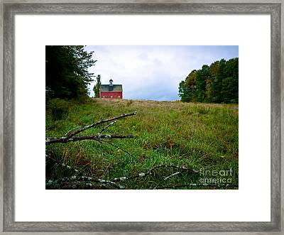 Old Red Barn On The Hill Framed Print by Edward Fielding