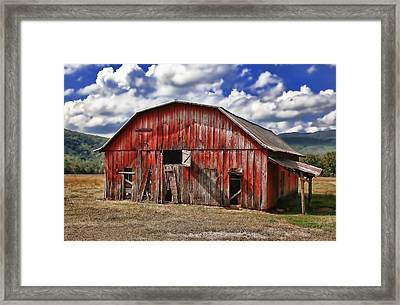 Framed Print featuring the photograph Old Red Barn by Renee Hardison
