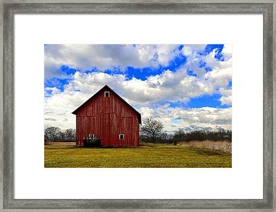 Old Red Barn Framed Print by Steven Jones