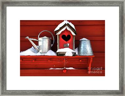 Old Red Birdhouse Framed Print by Sandra Cunningham