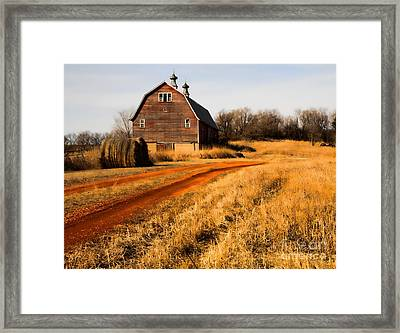 Old Red Road And Barn Framed Print