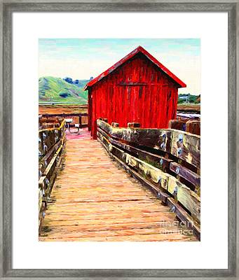 Old Red Shack Framed Print by Wingsdomain Art and Photography