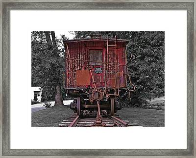 Old Red Train Framed Print by Lori Coleman