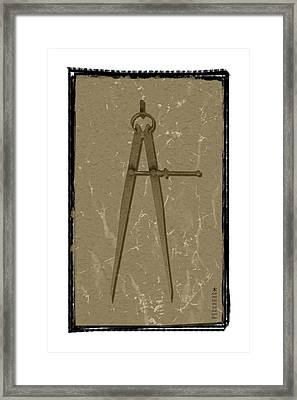 Old Rusted Adjustable Compass Framed Print by Steeve Dubois
