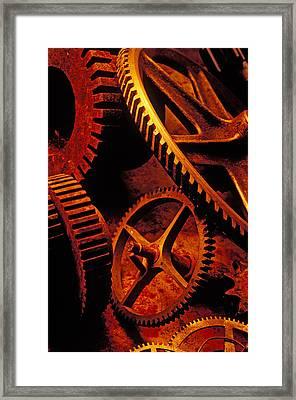 Old Rusty Gears Framed Print by Garry Gay