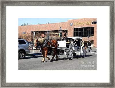 Old Sacramento California . Horse Drawn Buggy With California State Railroad Museum In The Back Framed Print by Wingsdomain Art and Photography