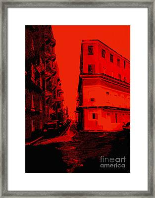 Old San Juan In Red And Black Framed Print by Ann Powell