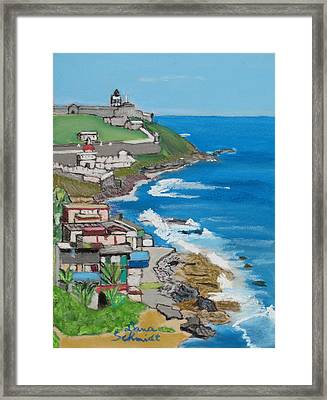 Old San Juan Seacoast In Puerto Rico Framed Print