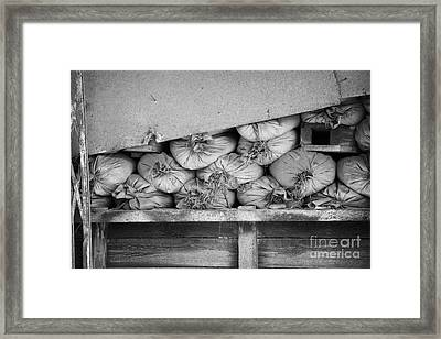 old sandbags and firing positions in restricted area of the UN buffer zone in the green line nicosia Framed Print by Joe Fox