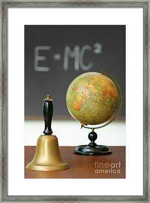Old School Bell On Desk  Framed Print by Sandra Cunningham