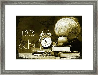 Old School Books  Framed Print by Sandra Cunningham