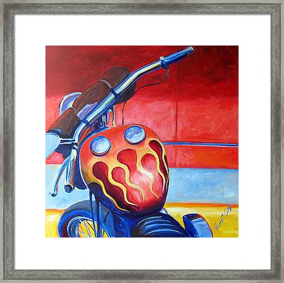 Old School Flames Framed Print by Janet Oh