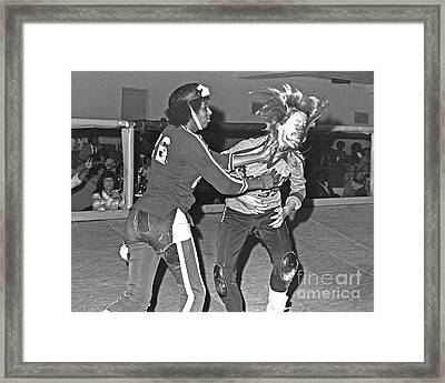 Framed Print featuring the photograph Old School Roller Derby And The Slap Heard Round The World by Jim Fitzpatrick