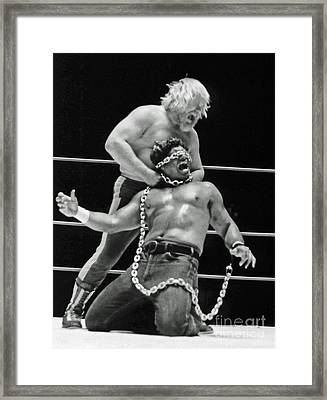 Framed Print featuring the photograph Old School Wrestling Chain Match Between Moondog Mayne And Don Muraco by Jim Fitzpatrick