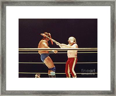 Framed Print featuring the photograph Old School Wrestling Chair Shot To The Head On Don Muraco By Moondog Mayne by Jim Fitzpatrick