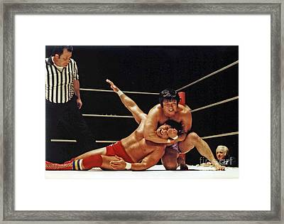 Framed Print featuring the photograph Old School Wrestling Headlock By Dean Ho On Don Muraco by Jim Fitzpatrick