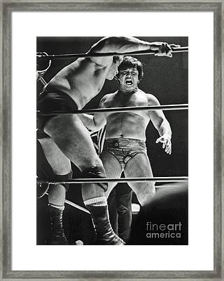 Framed Print featuring the photograph Old School Wrestling Karate Chop On Don Muraco By Dean Ho by Jim Fitzpatrick