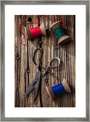 Old Scissors And Spools Of Thread Framed Print