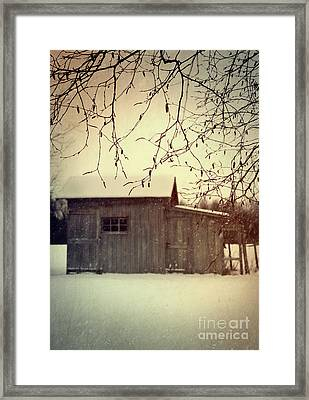 Old Shed In Wintertime Framed Print