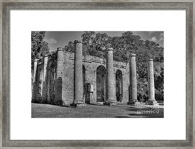 Old Sheldon Church 3 Black And White Framed Print
