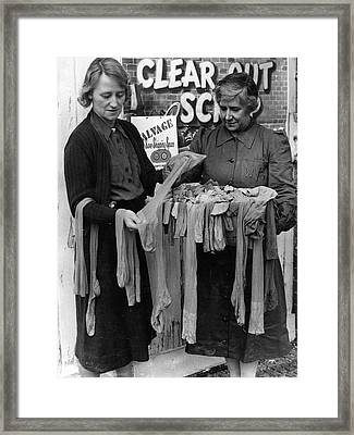 Old Silk Stockings Framed Print by Fox Photos