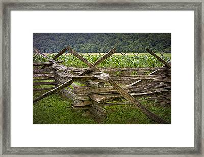 Old Split Rail Fence On A Farm In The Smokey Mountains No.696 Framed Print