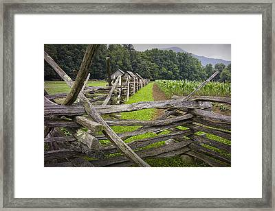 Old Split Rail Fence On A Farm In The Smokey Mountains Framed Print