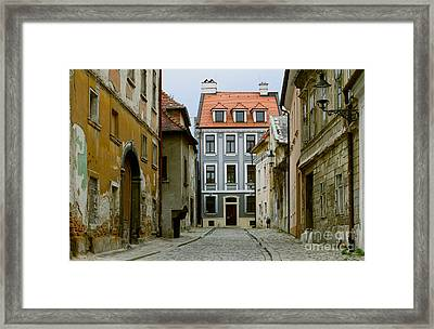 Framed Print featuring the photograph Old Street In Bratislava by Les Palenik