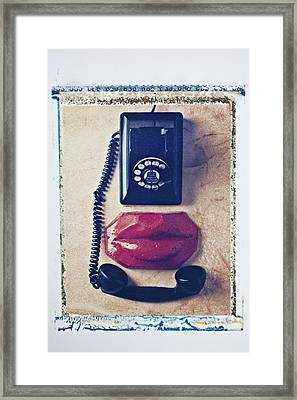 Old Telephone And Red Lips Framed Print by Garry Gay