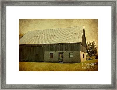 Old Textured Barn Framed Print by Sophie Vigneault