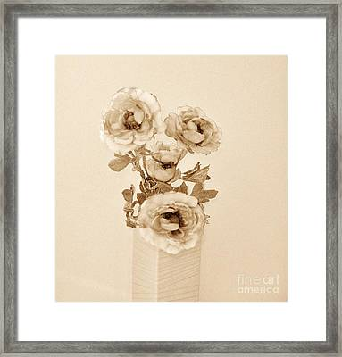 Old Time Brown Toned Peonies Framed Print