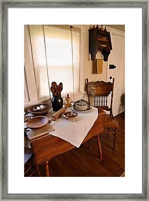 Old Time Kitchen Table Framed Print by Carmen Del Valle