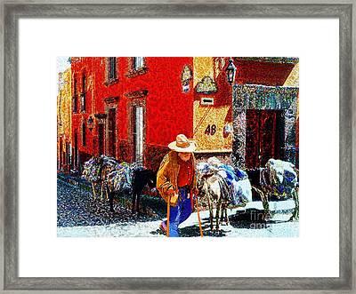 Old Timer With His Burros On Umaran Street Framed Print by John  Kolenberg