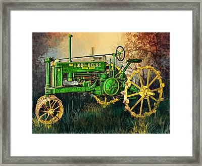 Framed Print featuring the digital art Old Tractor by Mary Almond